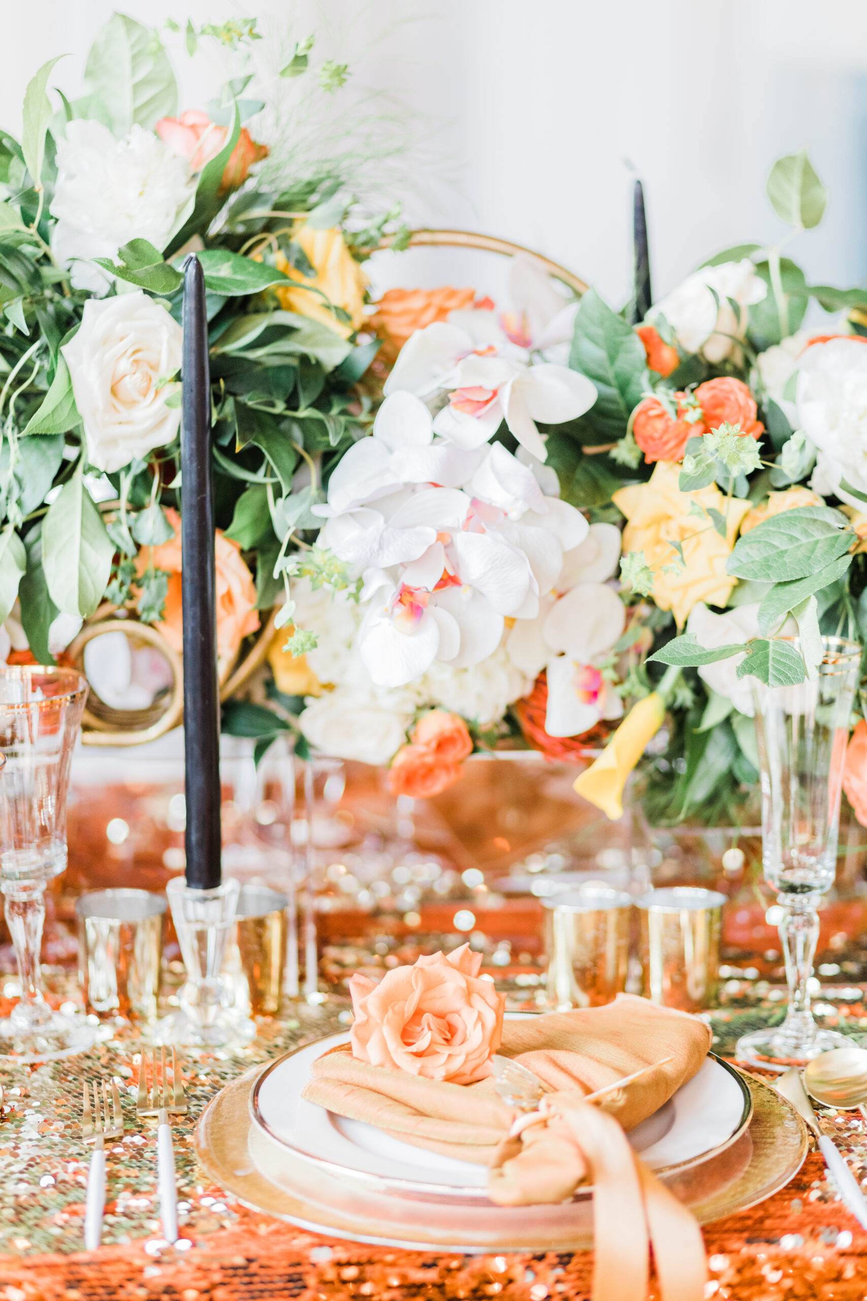 orange and yellow tablescape