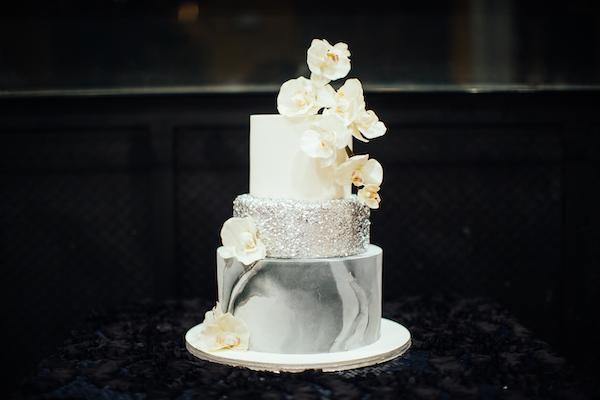E'MAGINE EVENTS & CO - North Carolina wedding planner – North Carolina Luxury wedding planner – North Carolina weddings - silver sparkle cake - three tiered silver sequins cake