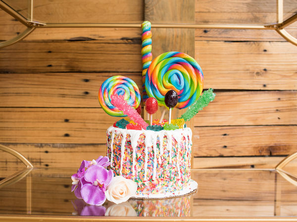 brightly colored event cake for dessert display - Living Single - colorful dessert display -