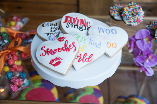 Living Single - colorful dessert display - colorful custom cookies for events
