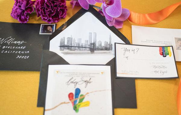 custom invitations - black invitations - Living Color - unique social invitations