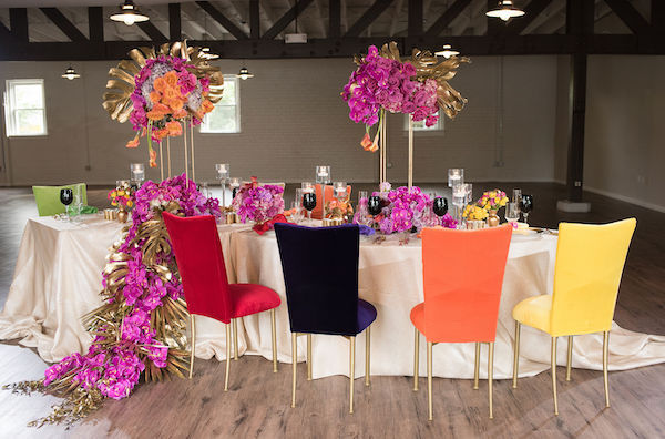 Living Single - Valentine's Day Event for Singles - colorful highjack event chairs - brightly colored event decor