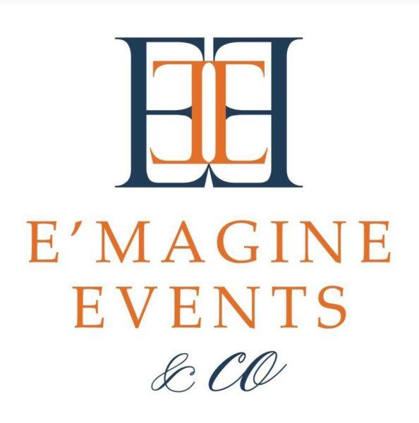 E'MAGNE Events & Co - North Carolina luxury wedding planner - branded logo - orange and navy blue