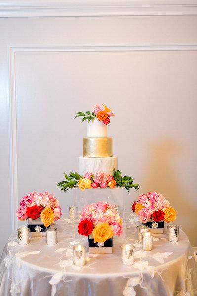 E'MAGNE Events & Co - North Carolina luxury wedding planner - branded logo - orange and navy blue wedding - gold wedding cake