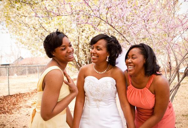 bride- brides maids - bride with bridesmaids