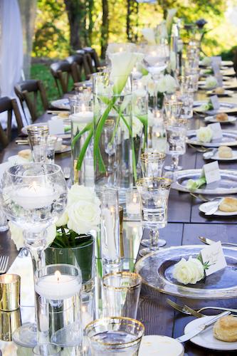 wooden farmhouse tables - gold rimmed charger plates - gold rimmed glassware - luxurious wedding decor - North Carolina weddings - North Carolina micro wedding - micro wedding-