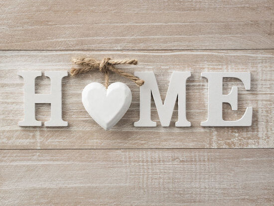 home sweet home, wooden text on vintage board