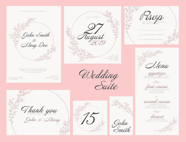 Modern pink Wedding suite collection card templates with pink flowers, labels and decorations on white - invitation, save the date card, rsvp, thank you card, table number, table name card, menu