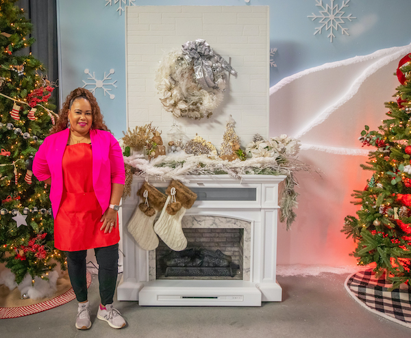 Shaunda Eggleston of E'MAGINE Events & Co on the set of The Design Network's reality show Sleighed