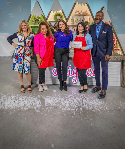 Shaunda Eggleston and the judges on the set of The Design Network's show Sleighed