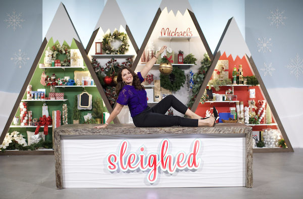 Host and set of The Design Network and Michaels Craft Stores holiday show Sleighed